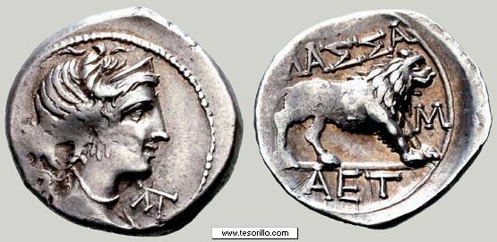 Dracma de Massalia. MAΣΣA/M/AET. 121-82 a.C. Galia. Massalia