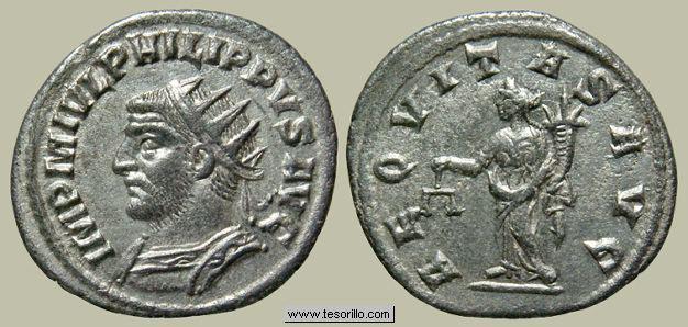 Antoniniano de Filipo I. AEQVITAS AVGG. Aequitas estante a izq. Roma. Filipo_m28