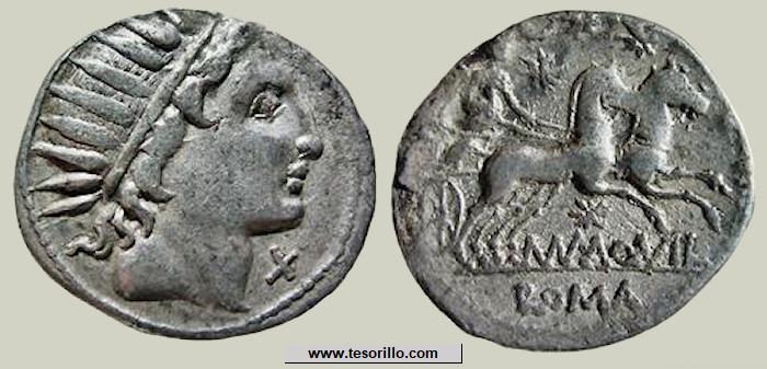Denier Serratus Aquillia _ RRC 401/1 _ Manius Aquillius